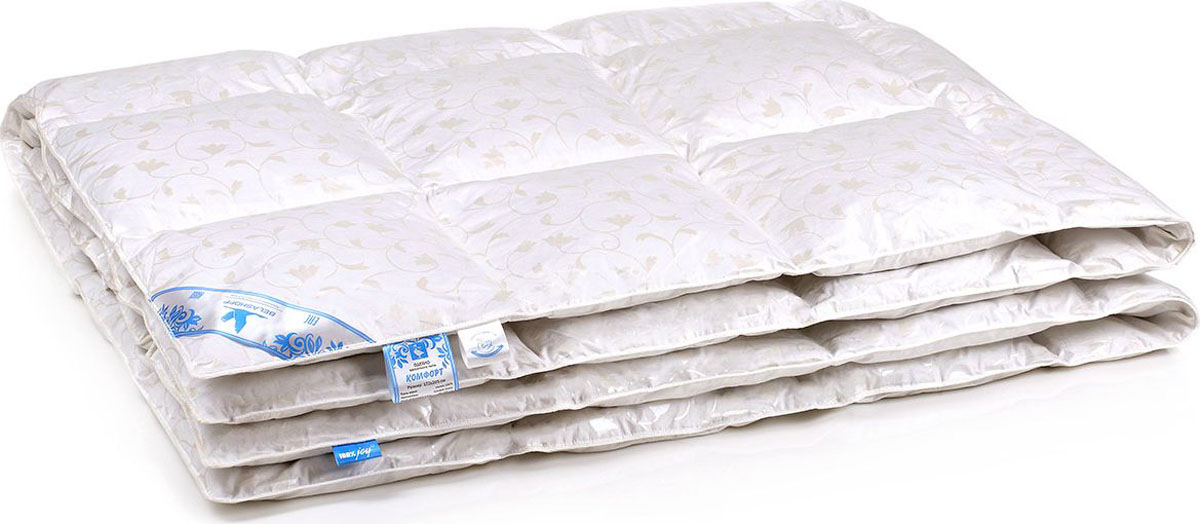 Belashoff Одеяло Комфорт цвет белый 172 x 205 смОПП1-2Коллекция Комфорт заинтересует потребителей, располагающих скромным бюджетом и ценящих высокое качество пухового наполнителя, прошедшего тщательную обработку. Одеяло хорошо сохраняет тепло, подушка легко восстанавливает свою форму, а уникальное свойство поглощения и выделения влаги позволяет наслаждаться спокойным безмятежным сном.