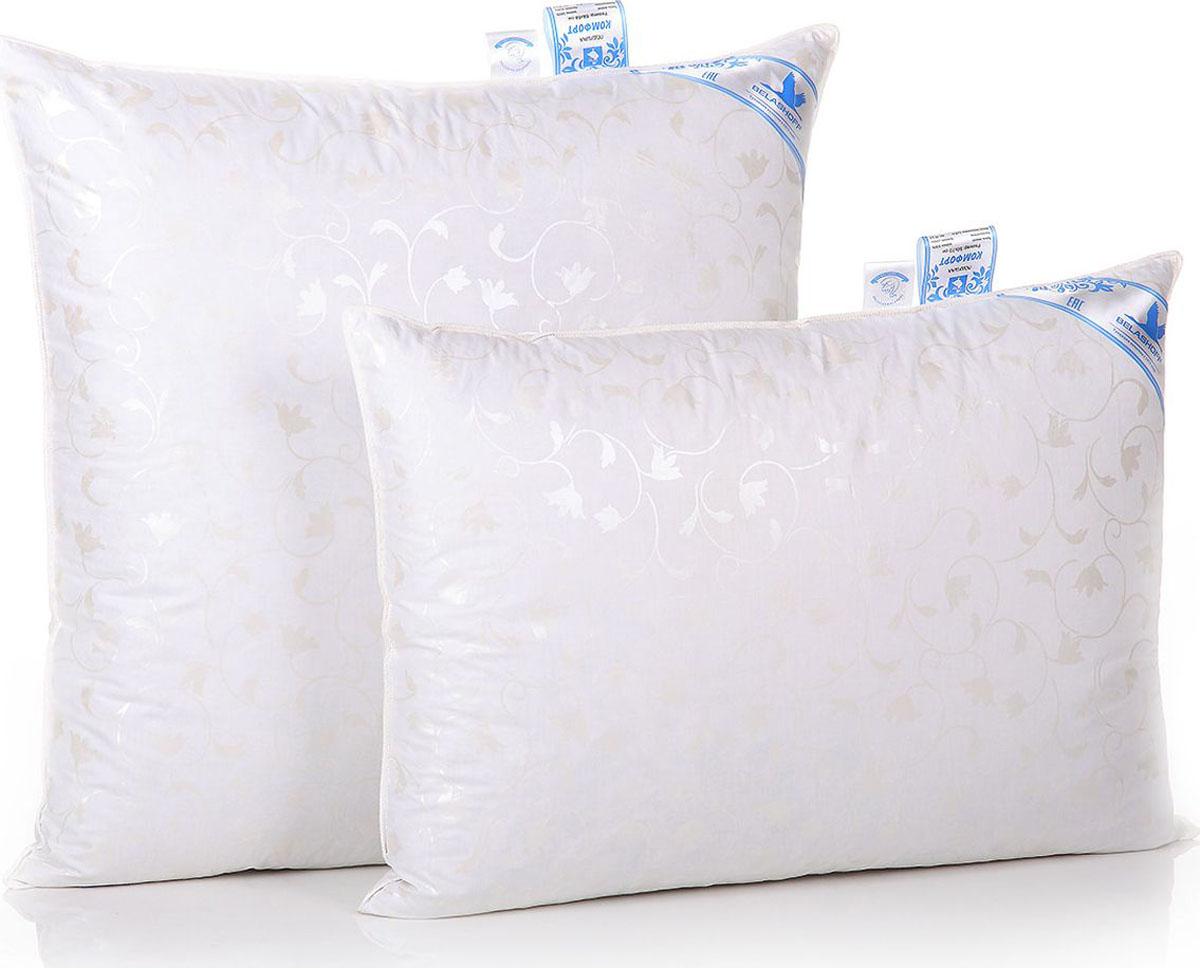 Belashoff Подушка Комфорт цвет белый 50 x 70 смПП1-2Коллекция Комфорт заинтересует потребителей, располагающих скромным бюджетом и ценящих высокое качество пухового наполнителя, прошедшего тщательную обработку. Одеяло хорошо сохраняет тепло, подушка легко восстанавливает свою форму, а уникальное свойство поглощения и выделения влаги позволяет наслаждаться спокойным безмятежным сном.