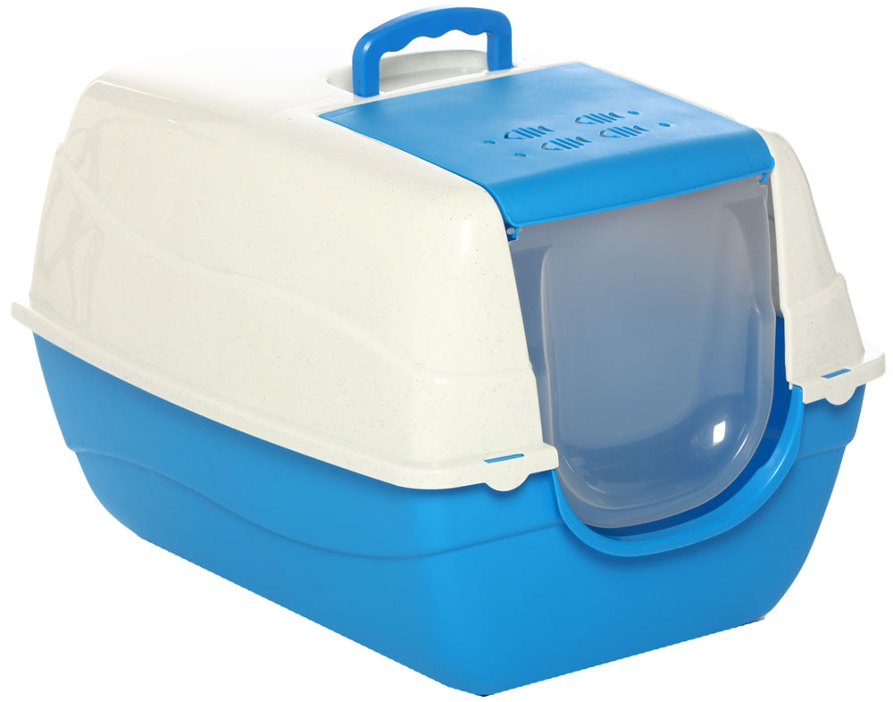 Туалет-лоток для кошек, цвет: синий, молочный, 70 x 57 x 46 см. CAT-L16 Blue - Наполнители и туалетные принадлежности - Лотки и совки
