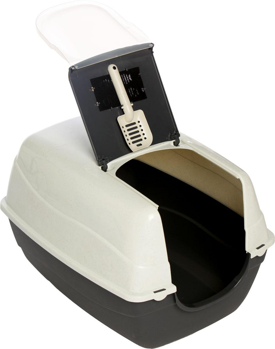 купить Туалет-лоток для кошек, цвет: серый, молочный, 70 x 57 x 46 см. CAT-L16 Grey по цене 1511 рублей