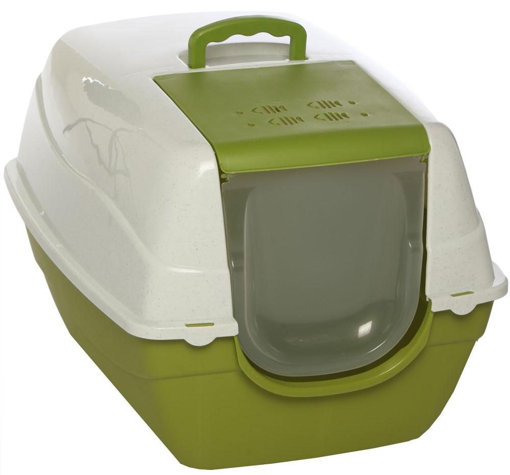 купить Туалет-лоток для кошек, цвет: оливковый, молочный, 70 x 57 x 46 см. CAT-L16 Oliver Green по цене 2120 рублей