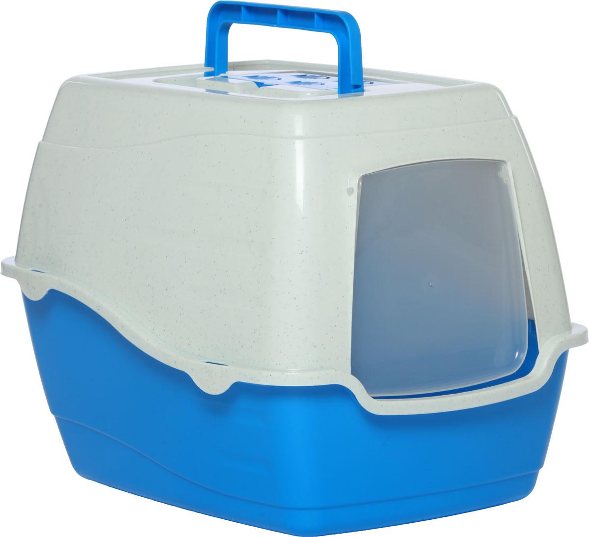 Туалет-лоток для кошек, цвет: синий, молочный, 50 x 40 x 39 см. CAT-L20 Blue