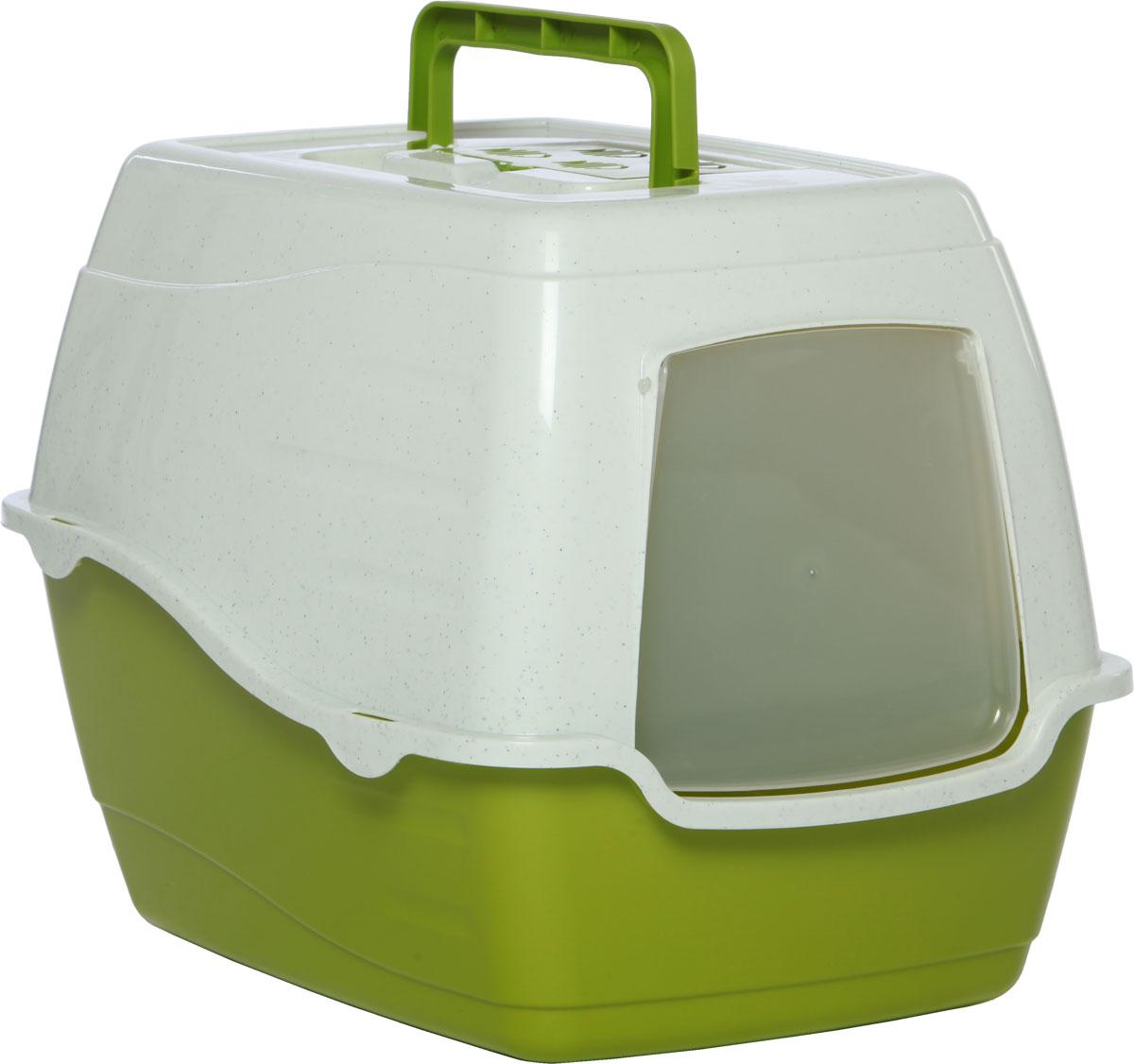 Туалет-лоток для кошек, цвет: оливковый, молочный, 50 x 40 x 39 см. CAT-L20 Oliver GreenCAT-L20 Oliver GreenТуалет-лоток для кошек удерживает неприятные запахи, предотвращает рассыпание наполнителя. Изготовлен из высококачественного пластика, легко моется и не впитывает запахи. Специально разработанная верхняя крышка, облегчает уборку туалета.Благодаря открывающейся фронтальной дверце ваш питомец быстро и удобно попадет в такой туалет-домик.Внутреннее отделение представляет собой глубокий отсек, в котором поместится ваш любимец.Укомплектовано такое изделие фильтром, а также совком, который выполнен с дополнительными отверстиями.Преимущества закрытого туалета очевидны: меньше распространяются неприятные запахи, наполнитель не рассыпается вокруг туалета (особенно актуально для кошек, которые любят покопаться в наполнителе);идеально подходит для кошек, которые любят долго и упорно зарывать, используя при этом не только наполнитель, но и все, что попадет под лапу.Туалет-лоток удобно переносить с помощью верхней пластиковой ручки.