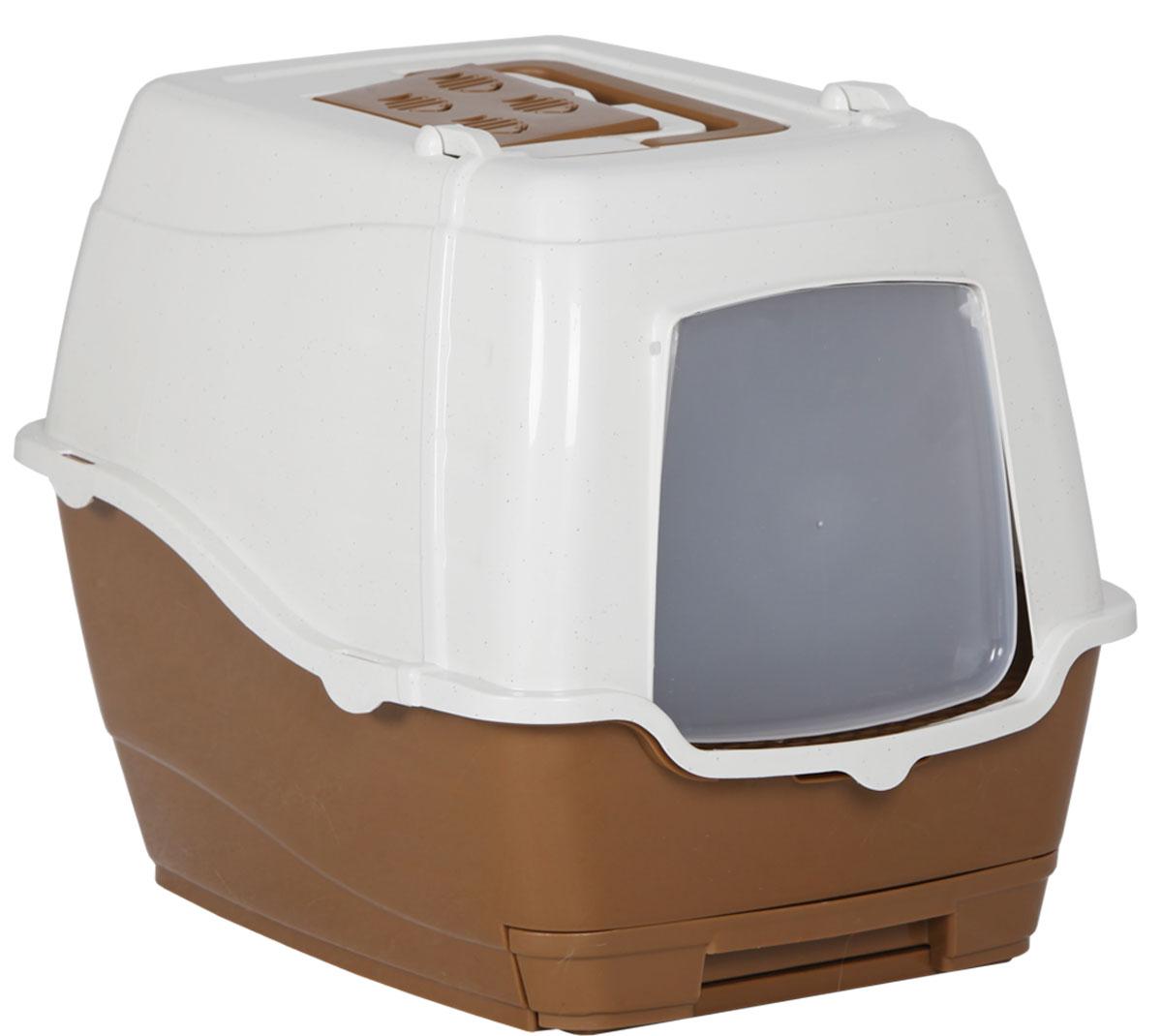 Туалет-лоток для кошек, цвет:  коричневый, молочный, 50 x 40 x 41 см.  CAT-L25 brown Petro Trade