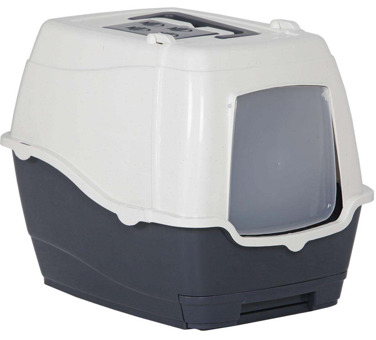 Туалет-лоток для кошек, цвет: серый, молочный, 47 x 39,5 x 41 см. CAT-L25 GreyCAT-L25 GreyТуалет-лоток для кошек удерживает неприятные запахи, предотвращает рассыпание наполнителя. Изготовлен из высококачественного пластика, легко моется и не впитывает запахи. Специально разработанная верхняя крышка, облегчает уборку туалета.Благодаря открывающейся фронтальной дверце ваш питомец быстро и удобно попадет в такой туалет-домик.Внутреннее отделение организовано с двойным дном. Одно из них имеет сетчатую поверхность. Через сетку высыпается лишний наполнитель, который можно убрать с помощью выдвижного отсека.Укомплектовано такое изделие фильтром, а также совком, который выполнен с дополнительными отверстиями.Преимущества закрытого туалета очевидны: меньше распространяются неприятные запахи, наполнитель не рассыпается вокруг туалета (особенно актуально для кошек, которые любят покопаться в наполнителе);идеально подходит для кошек, которые любят долго и упорно зарывать, используя при этом не только наполнитель, но и все, что попадет под лапу.Туалет-лоток удобно переносить с помощью верхней пластиковой ручки.