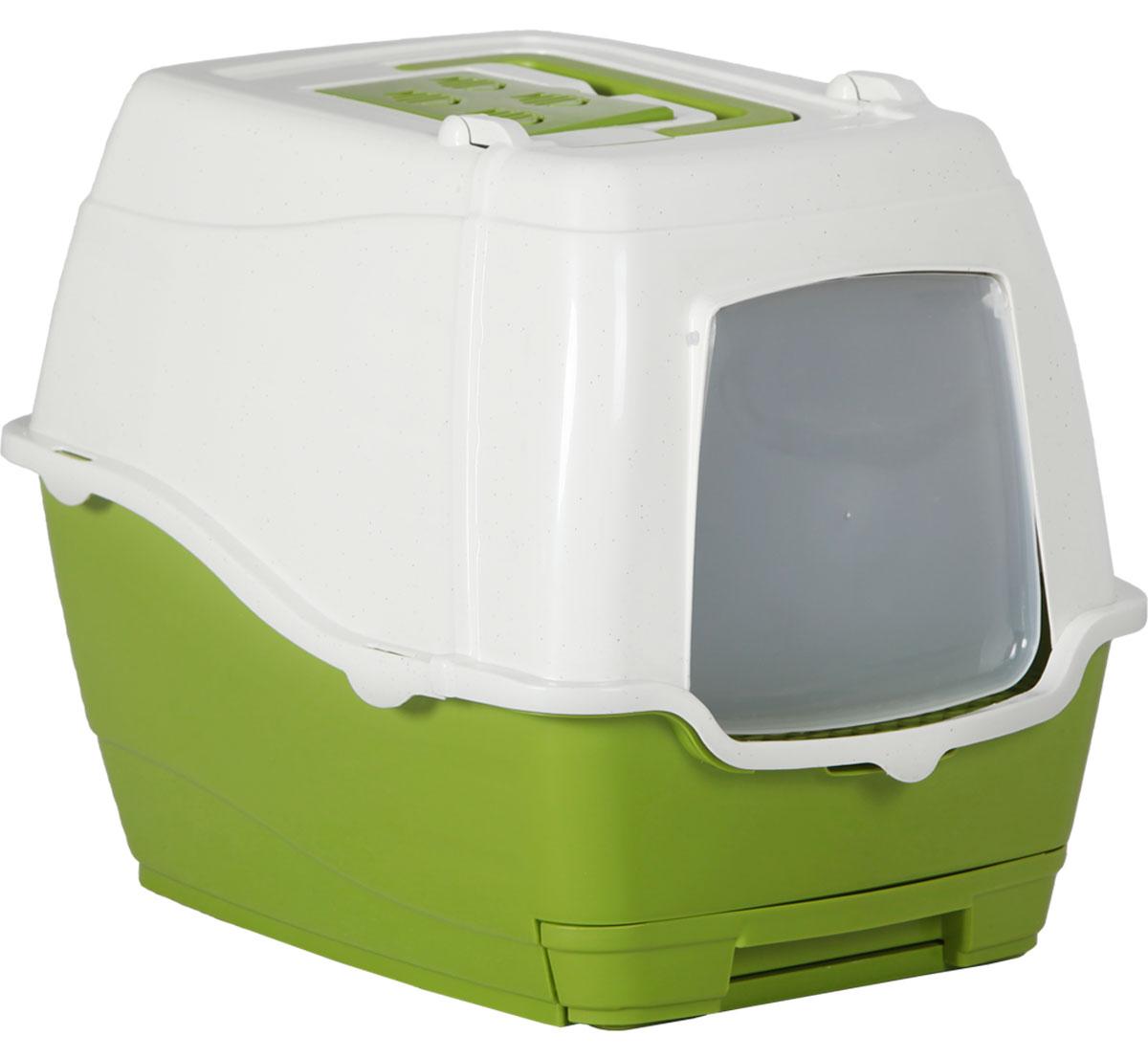 Туалет-лоток для кошек, цвет: оливковый, молочный, 47 x 39,5 x 41 см. CAT-L25 Olive GreenCAT-L25 Olive GreenТуалет-лоток для кошек удерживает неприятные запахи, предотвращает рассыпание наполнителя. Изготовлен из высококачественного пластика, легко моется и не впитывает запахи. Специально разработанная верхняя крышка, облегчает уборку туалета.Благодаря открывающейся фронтальной дверце ваш питомец быстро и удобно попадет в такой туалет-домик. С помощью встроенного нижнего отсека, который выдвигается, можно заменить использованный наполнитель.Укомплектовано такое изделие фильтром, а также совком, который закреплен на крыше туалета.Преимущества закрытого туалета очевидны: меньше распространяются неприятные запахи, наполнитель не рассыпается вокруг туалета (особенно актуально для кошек, которые любят покопаться в наполнителе);идеально подходит для кошек, которые любят долго и упорно зарывать, используя при этом не только наполнитель, но и все, что попадет под лапу.Туалет-лоток удобно переносить с помощью верхней пластиковой ручки.