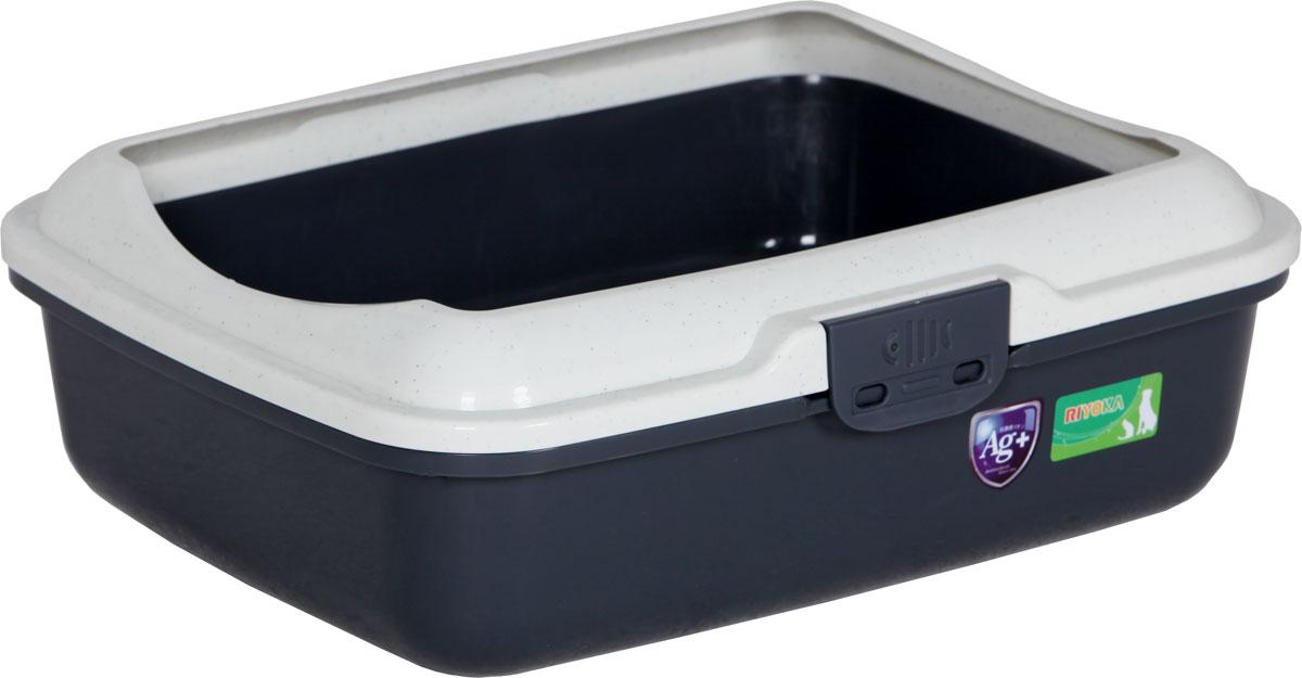 Туалет для кошек, с бортом и сеткой, цвет: серый, молочный, 50 x 40 x 17 см. CAT-L26 Grey