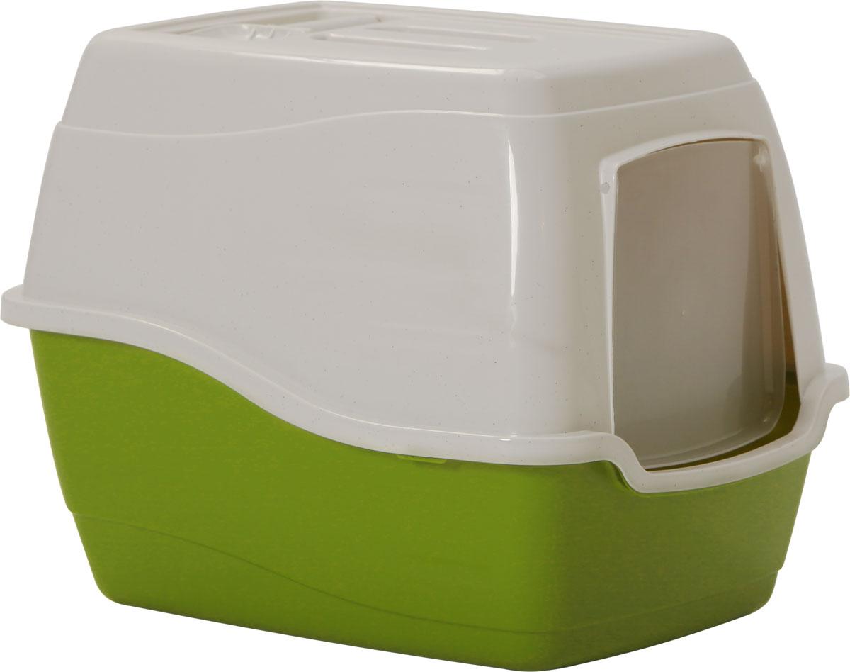 Туалет-лоток для кошек, цвет: оливковый, молочный, 50 x 40 x 39 см. CAT-L27 Oliver Green