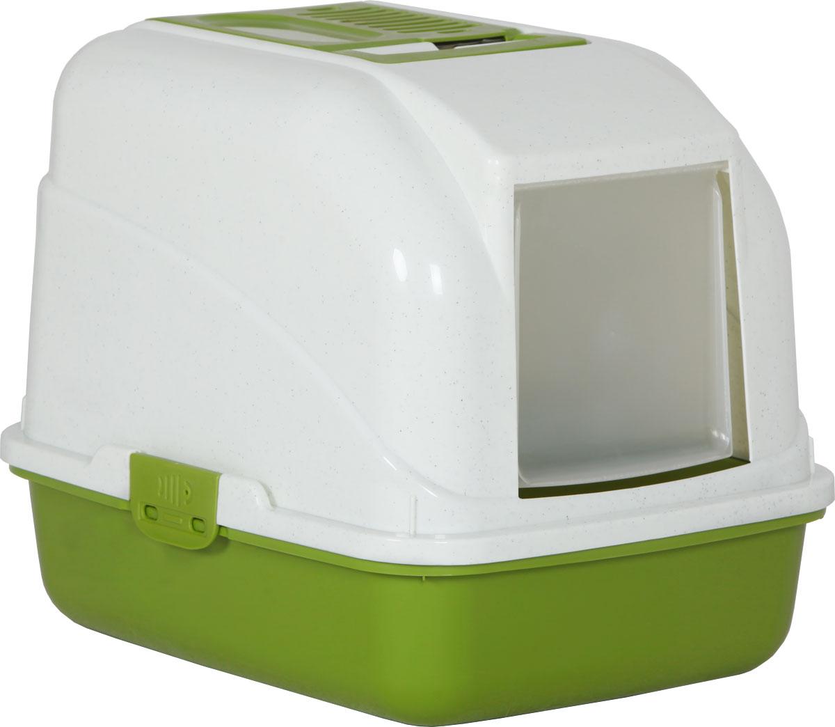 Туалет-лоток для кошек, цвет: оливковый, молочный, 50 x 40 x 41 см. CAT-L28 Oliver GreenCAT-L28 Oliver GreenТуалет-лоток для кошек удерживает неприятные запахи, предотвращает рассыпание наполнителя. Изготовлен из высококачественного пластика, легко моется и не впитывает запахи. Специально разработанная верхняя крышка, облегчает уборку туалета.Благодаря открывающейся фронтальной дверце ваш питомец быстро и удобно попадет в такой туалет-домик.Внутреннее отделение организовано с двойным дном. Одно из них имеет сетчатую поверхность.Укомплектовано такое изделие фильтром, а также совком, который выполнен с дополнительными отверстиями.Преимущества закрытого туалета очевидны: меньше распространяются неприятные запахи, наполнитель не рассыпается вокруг туалета (особенно актуально для кошек, которые любят покопаться в наполнителе);идеально подходит для кошек, которые любят долго и упорно зарывать, используя при этом не только наполнитель, но и все, что попадет под лапу.Туалет-лоток удобно переносить с помощью верхней пластиковой ручки.