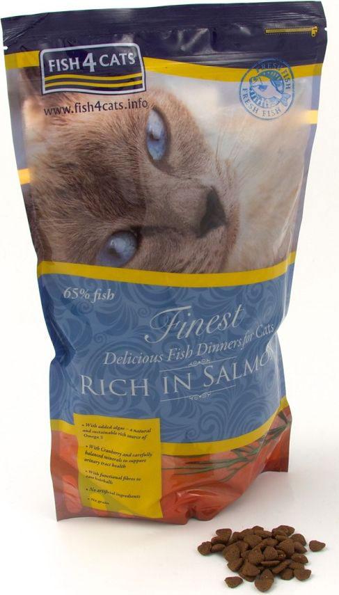 Корм сухой для кошек Finest Salmon, Лосось, 1,5 кгCFC063Finest Fish4Cats Salmon Salmon - это полноценное сбалансированное повседневное питание для кошек супер премиум класса. Состоит из 65% океанической рыбы, имеет приятный аромат и отменный рыбный вкус. Рыба - прекрасный белок, который легко переваривается, что делает его мягким к животику Вашей кошки, имеющий относительно низкое содержание насыщенных жиров и сахаров.Рыба является превосходным источником естественных омега-3 - отлично подходит для шерсти, кожи и суставов. С помощью сбалансированного минерального состава, уменьшая нагрузку на почки и добавив клюквы, Fish4Cats может помочь со здоровьем мочевыводящих путей.Функциональные волокна облегчат прохождение комков шерсти. Не содержит злаков, круп и глютена. Подходит кастрированным и стерилизованным питомцам, а также при аллергии и для чувствительного пищеварения.