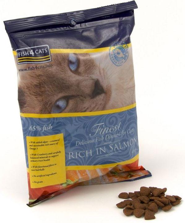 Корм сухой для кошек Finest Salmon, с лососем, 400 гCFC193Finest Fish4Cats Salmon Salmon - это полноценное сбалансированное повседневное питание для кошек супер премиум класса. Состоит из 65% океанической рыбы, имеет приятный аромат и отменный рыбный вкус. Рыба - прекрасный белок, который легко переваривается, что делает его мягким к животику Вашей кошки, имеющий относительно низкое содержание насыщенных жиров и сахаров. Рыба является превосходным источником естественных омега-3 - отлично подходит для шерсти, кожи и суставов. С помощью сбалансированного минерального состава, уменьшая нагрузку на почки и добавив клюквы, Fish4Cats может помочь со здоровьем мочевыводящих путей. Функциональные волокна облегчат прохождение комков шерсти. Не содержит злаков, круп и глютена. Подходит кастрированным и стерилизованным питомцам, а также при аллергии и для чувствительного пищеварения.