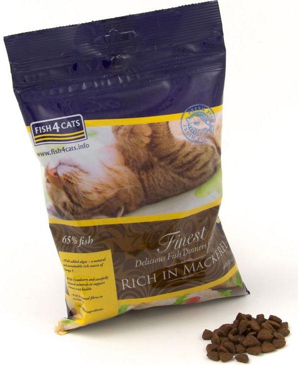 Корм сухой для кошек Finest Mackerel, с лососем, 400 гCFC216Finest Fish4Cats Mackerel - это полноценное сбалансированное повседневное питание для кошек супер премиум класса. Состоит из 65%океанической рыбы, включая 22% свежей скумбрии, имеет приятный аромат и отменный рыбный вкус. Рыба - прекрасный белок, который легкопереваривается, что делает его мягким к животику вашей кошки, имеющий относительно низкое содержание насыщенных жиров и сахаров. Рыба является превосходным источником естественных омега-3 - отлично подходит для шерсти, кожи и суставов. С помощью сбалансированного минерального состава, уменьшая нагрузку на почки и добавив клюквы, Fish4Cats может помочь со здоровьеммочевыводящих путей. Функциональные волокна облегчат прохождение комков шерсти. Не содержит злаков, круп и глютена. Подходит кастрированным и стерилизованным питомцам, а также при аллергии и для чувствительного пищеварения.