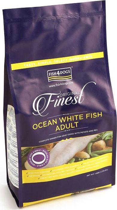 Корм сухой для собак Finest Ocean White Fish Adult, с рыбой и кратофелем, 1,5 кгDFC098Finest Ocean White Fish Adult - полнорационный сбалансированный корм с белой океанической рыбой для взрослых собак средних и крупных пород. Приготовлен из океанической рыбы, богатой легкоусвояемыми белками, витаминами и микроэлементами, а также жирными кислотами «Омега-3» и «Омега 6», которые поддерживают здоровье шерсти и кожи вашего питомца. Не содержит глютена, красителей и консервантов. Подходит для собак с чувствительным пищеварением и для пожилых собак с медленной пищеварительной системой.