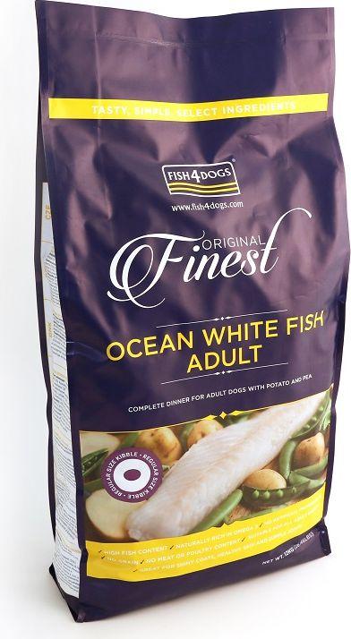Корм сухой для собак Finest Ocean White Fish Adult, с рыбой и кратофелем, 12 кгDFC104Finest Ocean White Fish Adult - полнорационный сбалансированный корм с белой океанической рыбой для взрослых собак средних и крупных пород. Приготовлен из океанической рыбы, богатой легкоусвояемыми белками, витаминами и микроэлементами, а также жирными кислотами «Омега-3» и «Омега 6», которые поддерживают здоровье шерсти и кожи вашего питомца. Не содержит глютена, красителей и консервантов. Подходит для собак с чувствительным пищеварением и для пожилых собак с медленной пищеварительной системой.