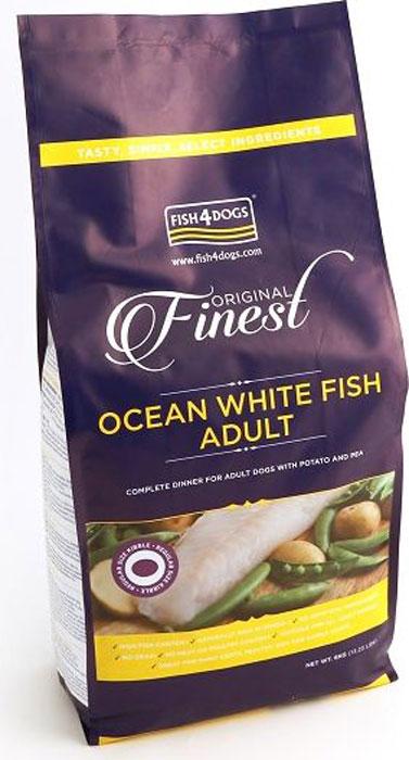 Корм сухой Finest Ocean White Fish Adult, для собак крупных пород, с рыбой и кратофелем, 6 кгDFC854Finest Ocean White Fish Adult - полнорационный сбалансированный корм с белой океанической рыбой для взрослых собак средних и крупных пород. Приготовлен из океанической рыбы, богатой легкоусвояемыми белками, витаминами и микроэлементами, а также жирными кислотами «Омега- 3» и «Омега 6», которые поддерживают здоровье шерсти и кожи вашего питомца. Не содержит глютена, красителей и консервантов. Подходит для собак с чувствительным пищеварением и для пожилых собак с медленной пищеварительной системой.