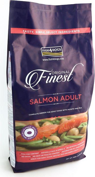 Корм сухой для собак Finest Salmon Adult , с лососем и картофелем, 12 кгDSC395Finest Salmon Adult - полнорационный сухой корм на основе лосося для взрослых собак средних и крупных пород. Приготовлен из свежего норвежского лосося. Лосось является идеальным продуктом для блестящей шерсти и здоровой кожи, так как в нем содержится больше всего жирных кислот «Омега-3».В качестве источника углеводов - в корме используются только картофель и гороховая мука. Подходит для собак с чувствительным пищеварением. Не содержит глютена, красителей и консервантов.
