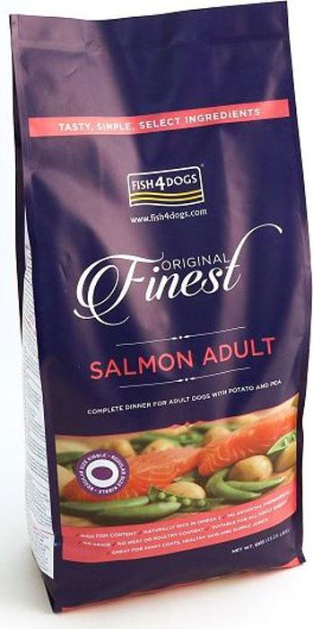 Корм сухой Finest Salmon Adult, для собак крупных пород, с лососем и картофелем, 6 кгDSC878Finest Salmon Adult - полнорационный сухой корм на основе лосося для взрослых собак средних и крупных пород. Приготовлен из свежего норвежского лосося. Лосось является идеальным продуктом для блестящей шерсти и здоровой кожи, так как в нем содержится больше всего жирных кислот «Омега-3».В качестве источника углеводов - в корме используются только картофель и гороховая мука. Подходит для собак с чувствительным пищеварением. Не содержит глютена, красителей и консервантов.