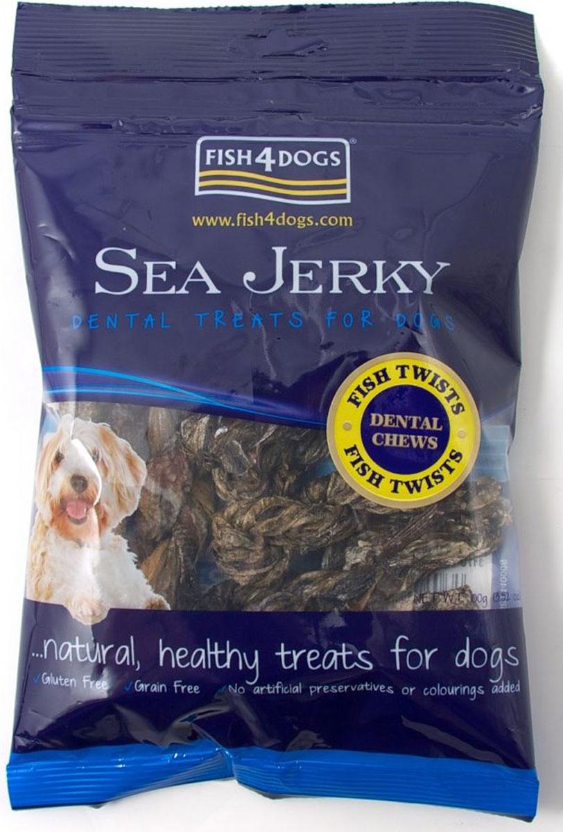 Лакомство для собак Sea Jerky Fish Twists, с рыбой, 100 гJFT588Sea Jerky Fish Twists - твисты из 100% запеченной кожи рыбы. Эти низкокалорийные угощения имеют шероховатую текстуру, которые не толькопомогут удалить зубной камень, но и очень вкусные.