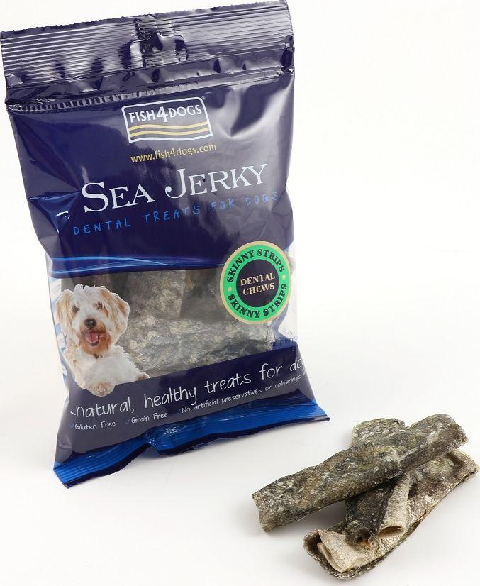 Лакомство для собак Sea Jerky Skinny Strips, с рыбой, 100 гJSS571Sea Jerky Skinny Strips – полоски из 100% запеченной кожи рыб. Эти низкокалорийные угощения имеют шероховатую текстуру, которые не только помогут удалить зубной камень, но и очень вкусные.