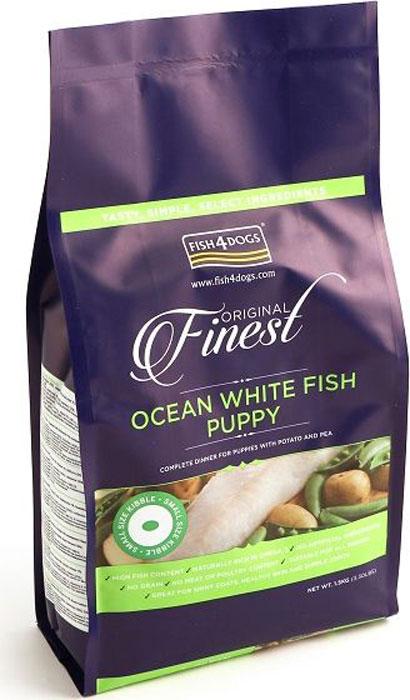 Корм сухой Finest Ocean White Fish Puppy, для щенков мелких пород, с рыбой и кратофелем, 1,5 кг606204001Finest Ocean White Fish Puppy - полнорационный сбалансированный сухой корм для щенков мелких, средних и крупных пород приготовлен из свежей океанической белой рыбы с повышенным содержанием белка, что обеспечивает идеальное полноценное питание и развитие растущего щенка. Содержит оптимальный баланс белков, жиров, углеводов и минеральных веществ. Не содержит глютена, красителей и консервантов. Подходит для щенков с чувствительным пищеварением, а так же беременных и кормящих сук.