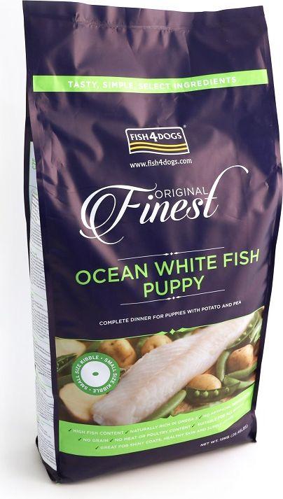 Корм сухой для щенков Finest Ocean White Fish Puppy, с рыбой и кратофелем, 12 кгPFC524Finest Ocean White Fish Puppy - полнорационный сбалансированный сухой корм для щенков мелких, средних и крупных пород приготовлен из свежей океанической белой рыбы с повышенным содержанием белка, что обеспечивает идеальное полноценное питание и развитие растущего щенка. Содержит оптимальный баланс белков, жиров, углеводов и минеральных веществ.Не содержит глютена, красителей и консервантов.Подходит для щенков с чувствительным пищеварением, а так же беременных и кормящих сук.