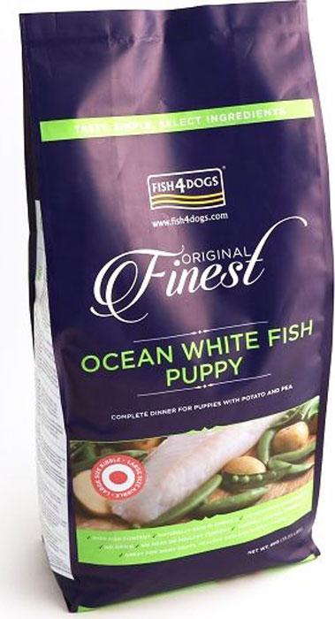 Корм сухой Finest Ocean White Fish Puppy, для щенков крупных пород, с рыбой и кратофелем, 6 кгPFC908Finest Ocean White Fish Puppy полнорационный сбалансированный сухой корм для щенков средних и крупных пород приготовлен из свежей океанической белой рыбы с повышенным содержанием белка, что обеспечивает идеальное полноценное питание и развитие растущего щенка. Содержит оптимальный баланс белков, жиров, углеводов и минеральных веществ. Не содержит глютена, красителей и консервантов. Подходит для щенков с чувствительным пищеварением, беременных и кормящих сук.