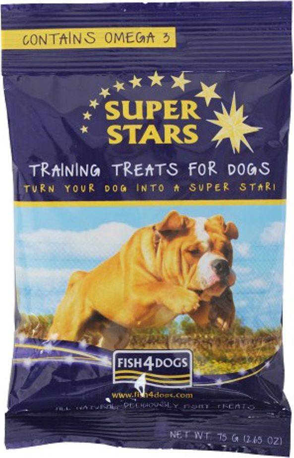 Лакомство для собак, для дрессировки Fish4Dogs Super Star, с рыбой, 75 гTST561Лакомства для дрессировки Super Star. Наши обучающие лакомства «Суперзвезды» - это маленькие награды, упакованные с рыбой и настоянные с лососевым маслом. Они достаточно насыщенно пахнут, чтобы привлечь внимание вашей собаки, достаточно вкусные, чтобы она вернулась еще и достаточно малы по размеру, чтобы можно было использовать их часто в процессе обучения.Не содержит глютена, красителей и консерваетов.