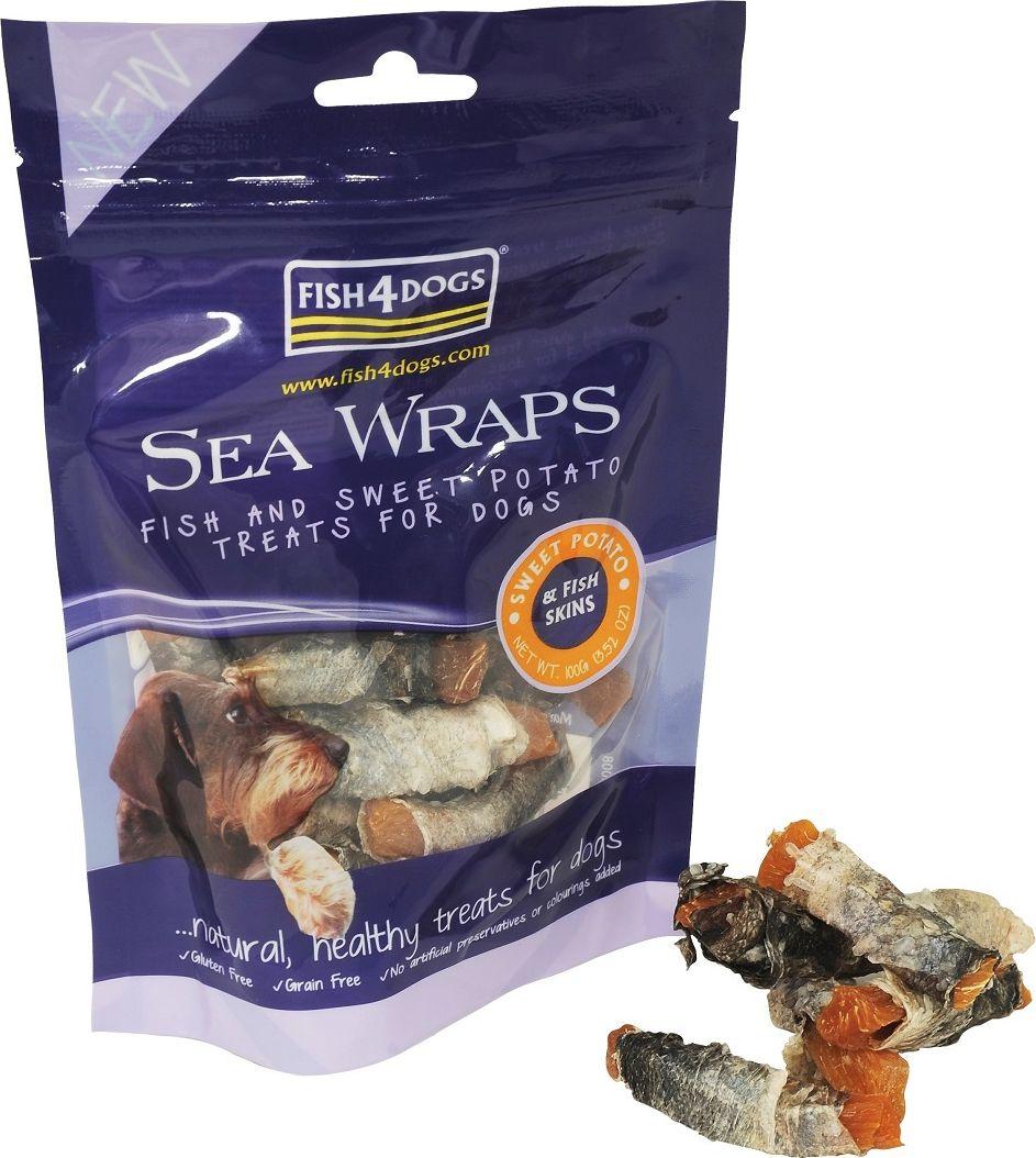 Лакомство для собак Sea Wraps Sweet Potato, с рыбой и кратофелем, 100 гWSP325Sea Wraps Sweet Potato – рулетики со сладким картофелем из рыбы. Морские рулетики от Fish4Dogs сделаны из сладкого картофеля, завернутого в рыбью кожу. Сладкий картофель – это чудесный овощ, низкокалорийный (7 калорий на лакомство) и богатый калием и витамином А. Содержит Омега-3 жирные кислоты, полезные для шерсти и кожи. Не содержит искусственных добавок, консервантов и красителей. Сладкий картофель идеально дополняет рыбу, обеспечивая пользу и вкус лакомств.