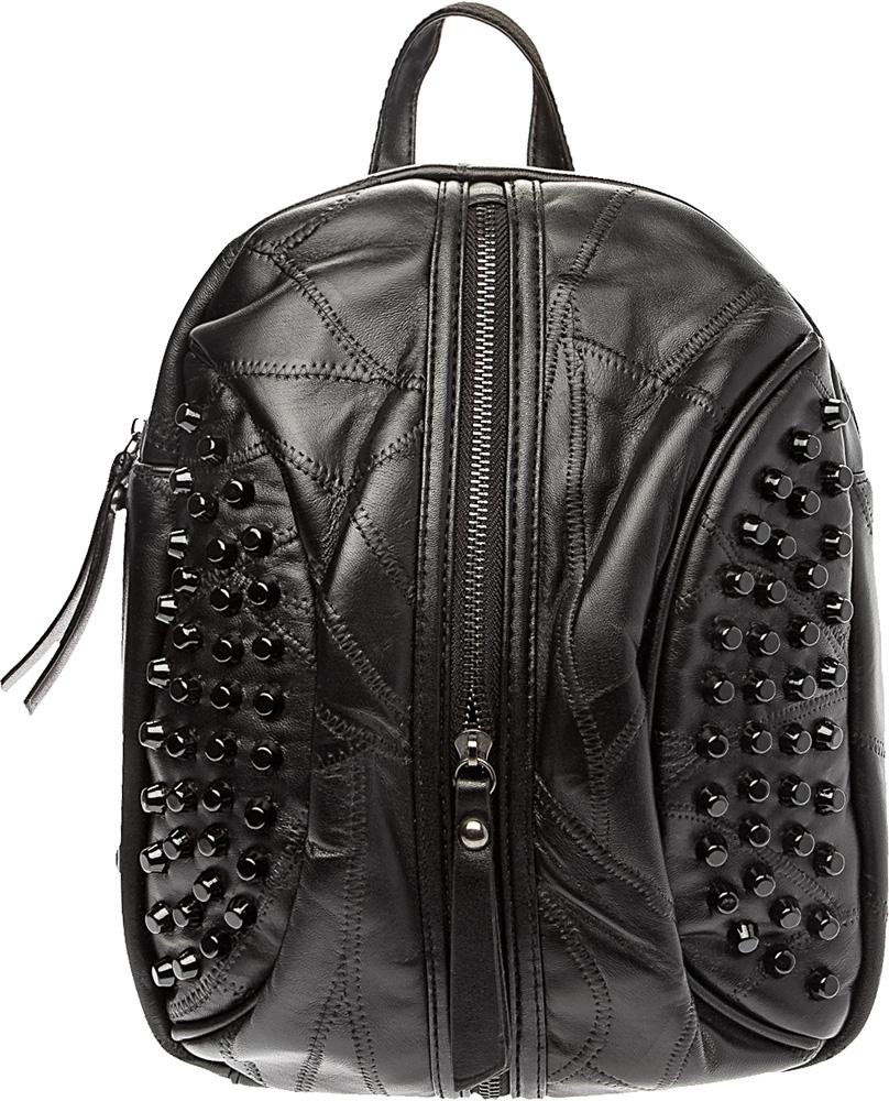 Рюкзак женский Keddo, цвет: черный. 378103/01-01378103/01-01Стильный женский рюкзак Keddo выполнен из стеганой натуральной кожи. Закрывается на застежку-молнию. Спереди один карман на застежке-молнии и декоративные элементы. Имеет одно объемное отделение, ручку для переноски и регулируемые плечевые ремни.
