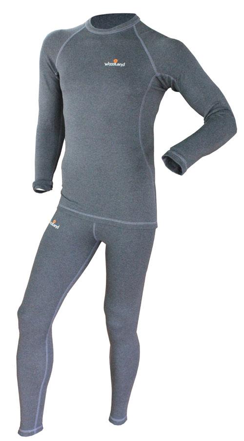 Комплект термобелья детский Woodland Soft Thermo EKO: кофта, брюки, цвет: графит. 0063528. Размер 34/36, рост 140-146Soft Thermo EKO_детскоеКомплект термобелья Woodland, состоящий из кофты и брюк, идеально подойдет в холодную погоду. Изготовленный из вискозы с добавлением полиэстера и лайкры, он мягкий и приятный на ощупь, отлично отводит влагу и обеспечивает хорошую терморегуляцию, защищая как от перегрева, так и от охлаждения. Уникальная технология шитья без внутренних швов обеспечит прекрасное теплосбережение и комфорт при длительном ношении. Кофта с длинными рукавами-реглан и низким воротником-стойкой оформлена контрастной прострочкой и на груди логотипом бренда. Брюки имеют на поясе широкую эластичную резинку. Модель также оформлена контрастной прострочкой и логотипом бренда. Показатели температуры использования: при низкой физической активности до -15°C; при высокой физической активности до -20°C.