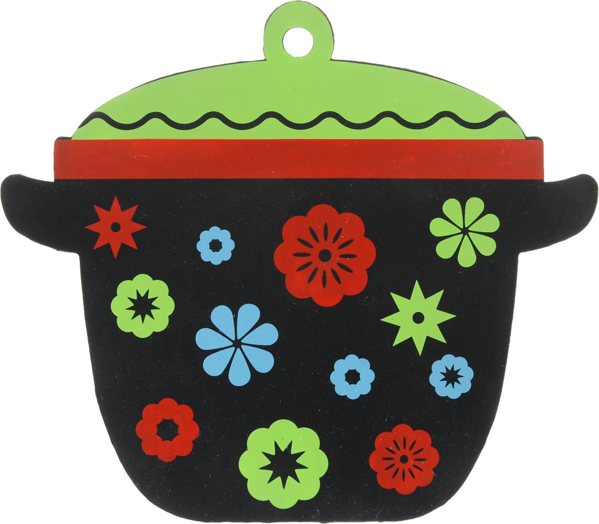Подставка термостойкая Marmiton Кастрюлька, силиконовая, цвет: зеленый, черный, 19 х 16,5 см салфетка для сервировки стола marmiton термостойкая подставка складная marmiton красный 21 6х21 6х1 см