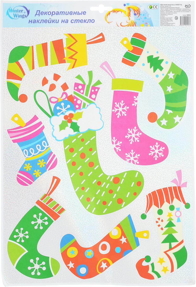 """С помощью наклеек для окон Winter Wings """"Новый год"""" вы легко это сделаете! Забавные картинки  наполнят дом радостным и веселым настроением и создадут атмосферу праздника. Декор прост  и удобен в использовании:  Выберите место для наклейки. Поверхность должна быть чистой.  Возьмите лист с наклейкой, аккуратно отсоедините ее от основы. Прикрепите к поверхности.  Тщательно разгладьте композицию от центра к краям мягкой тряпочкой для удаления пузырьков  воздуха.  Изделие отлично ложится на любые стеклянные и зеркальные поверхности. Легко  удаляется, не оставляя следов. Наклейки подходят для многоразового использования.  Сотворите волшебную сказку на окнах!"""