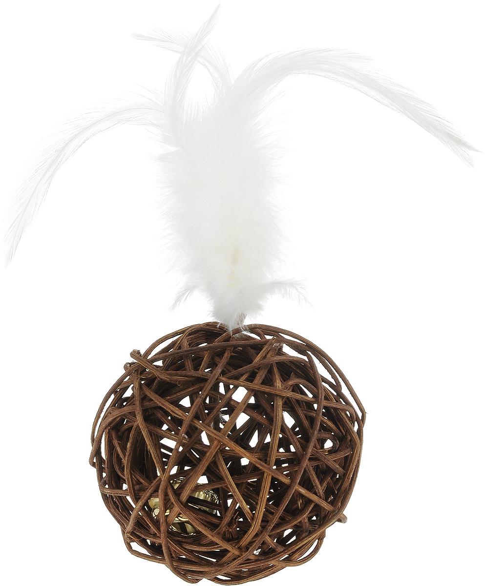 Игрушка для животных Nobby Мяч, цвет: коричневый, диаметр 7 см игрушки для животных zoobaloo игрушка для кошки бамбук плюшевый мяч на резинке 60см