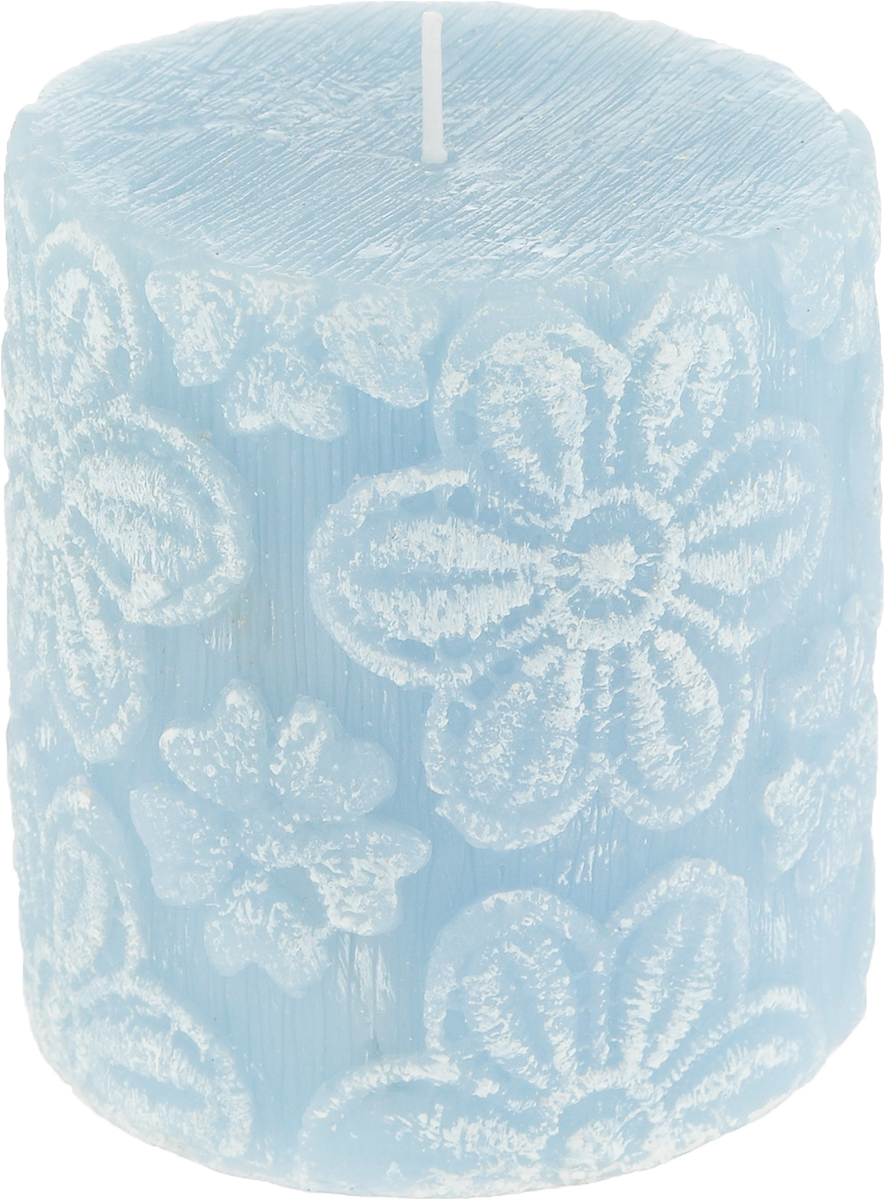 Свеча-цилиндр B&H Цветочное кружево, цвет: бирюзовый, 7,5 смBH1042_бирюзовыйОригинальная свеча B&H Цветочное кружево изготовлена в форме цилиндра из качественногопарафина. Свеча оформлена цветочным узором.