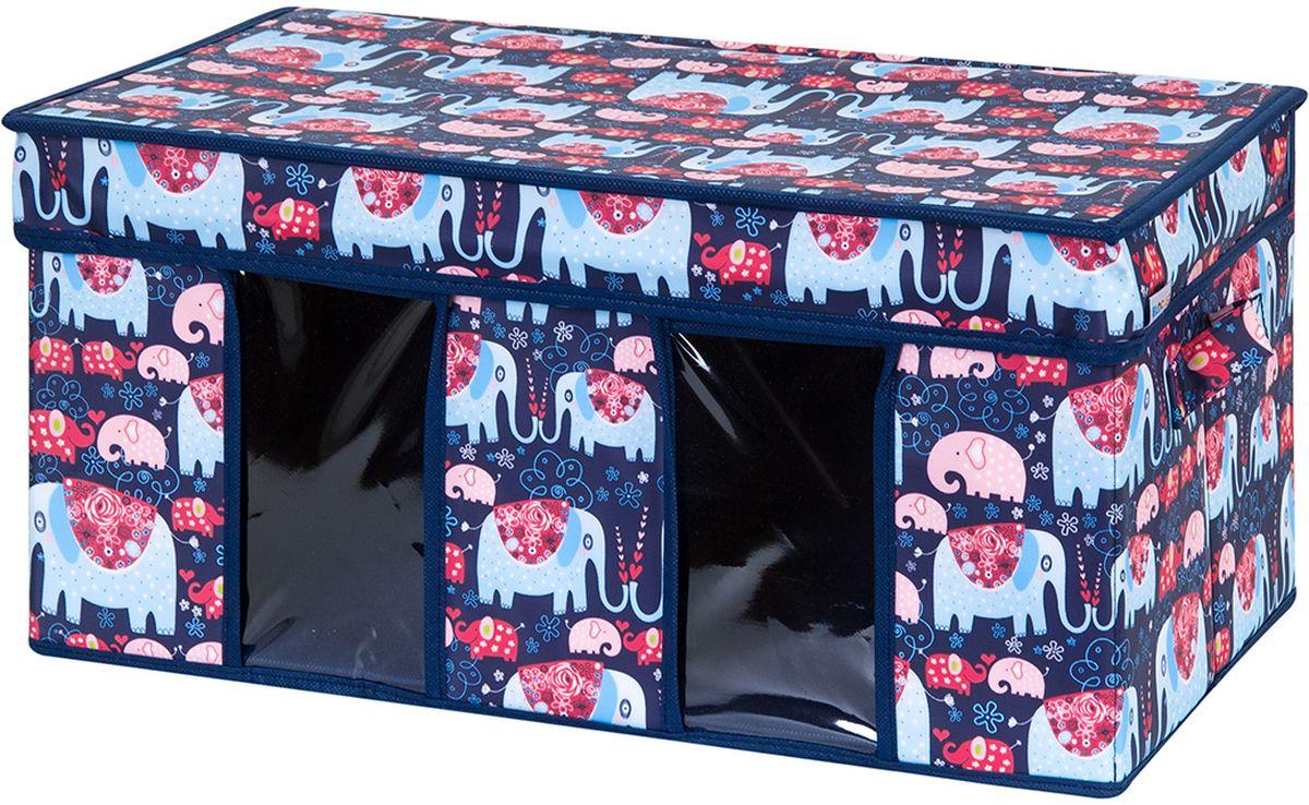Кофр для хранения вещей El Casa Слоники, с 2 ручками, с 2 окошками, 50 х 29 х 24 см840210Кофр для хранения представляет собой закрывающуюся крышкой коробку жесткой конструкции, благодаря наличию внутри плотных листов картона. Специально предназначен для защиты Вашей одежды от воздействия негативных внешних факторов: влаги и сырости, моли, выгорания, грязи. Благодаря оригинальному дизайну кофр будет гармонично смотреться в любом интерьере.