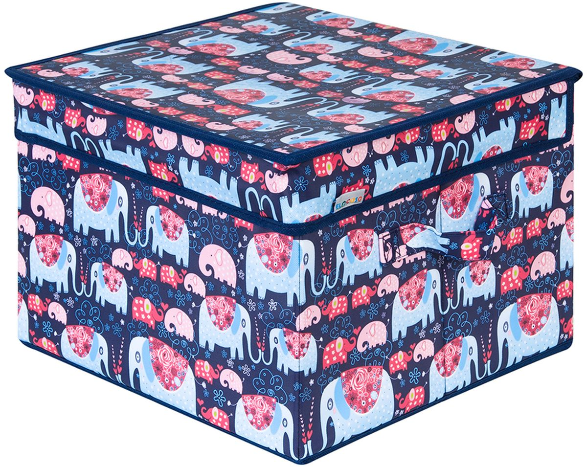 Кофр для хранения вещей El Casa Слоники, с 2 ручками, 32 х 32 х 24 см кофр для хранения el casa узоры с сердечками складной 16 секций 32 х 32 х 10 см