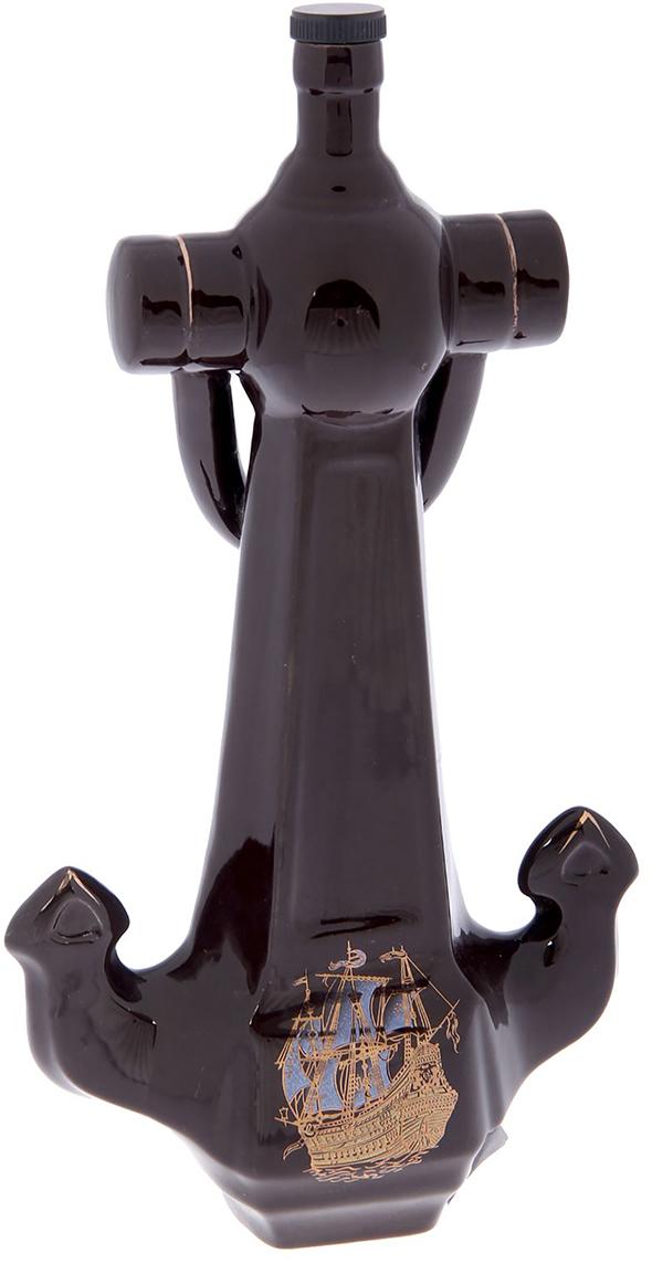 Штоф Керамика ручной работы Якорь, 1 л. 21744472174447Сосуд изготовлен из керамики - прочного материала, способного сохранять температуружидкости до 4 часов. Он предназначен для хранения вина, водки, коньяка и настойки. На праздничном ужине такая подача алкоголя приятно удивит ваших гостей. Кроме этого,сувенир может стать отличным подарком для ценителей качественных спиртных напитков.
