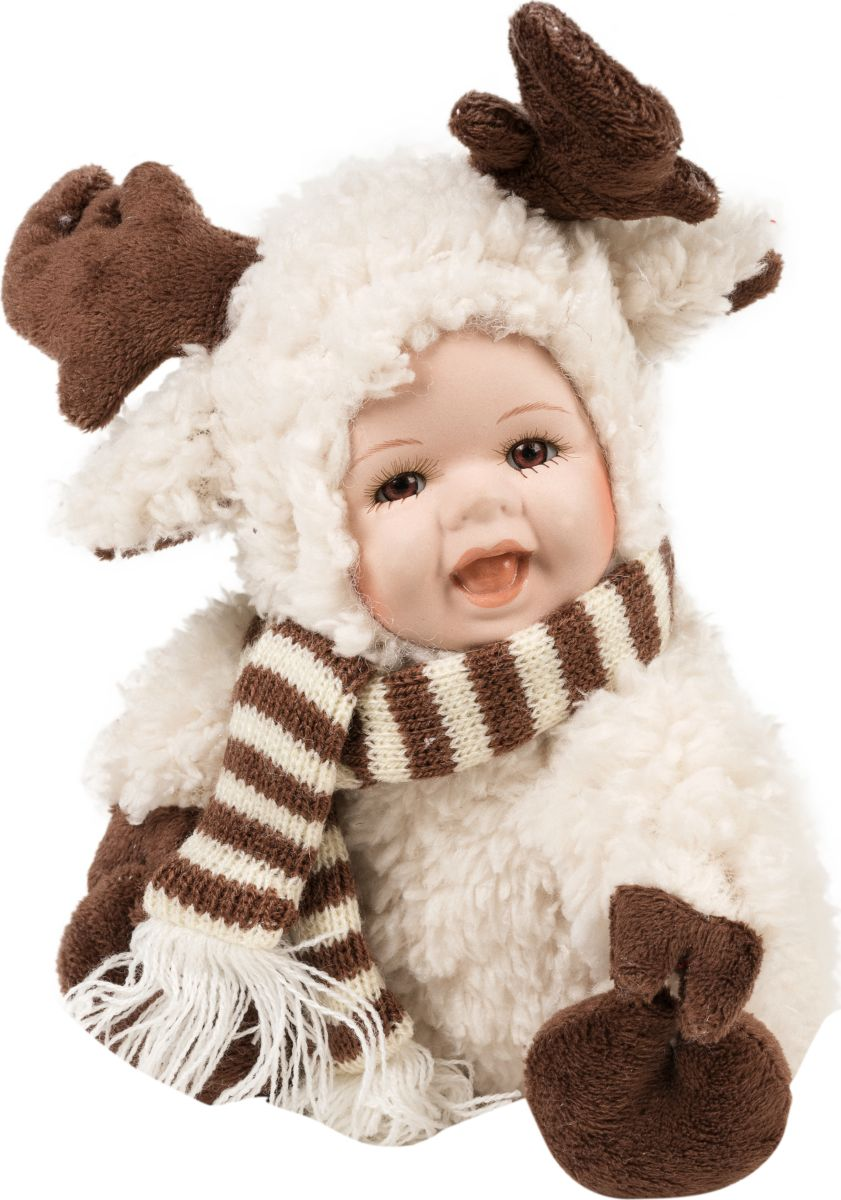 Фигурка праздничная Estro Лосенок с детским лицомC21-101089Интерьерная игрушка ESTRO ручной работы