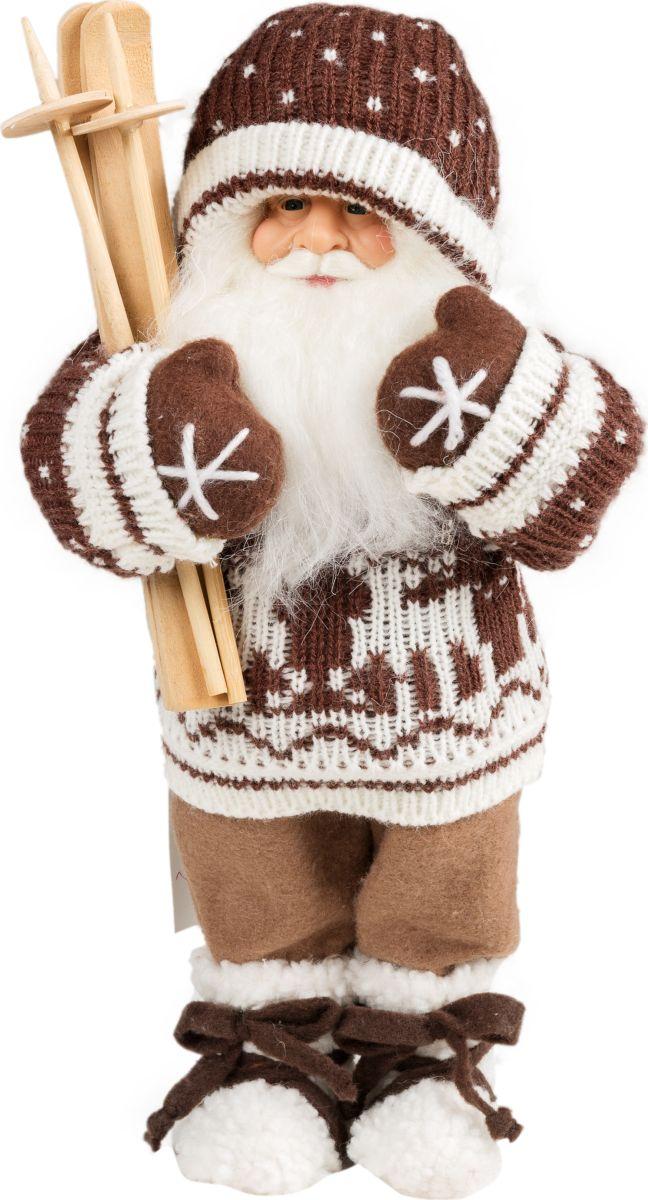 Фигурка праздничная Estro Дед Мороз с лыжамиC21-121552Интерьерная игрушка ESTRO ручной работы