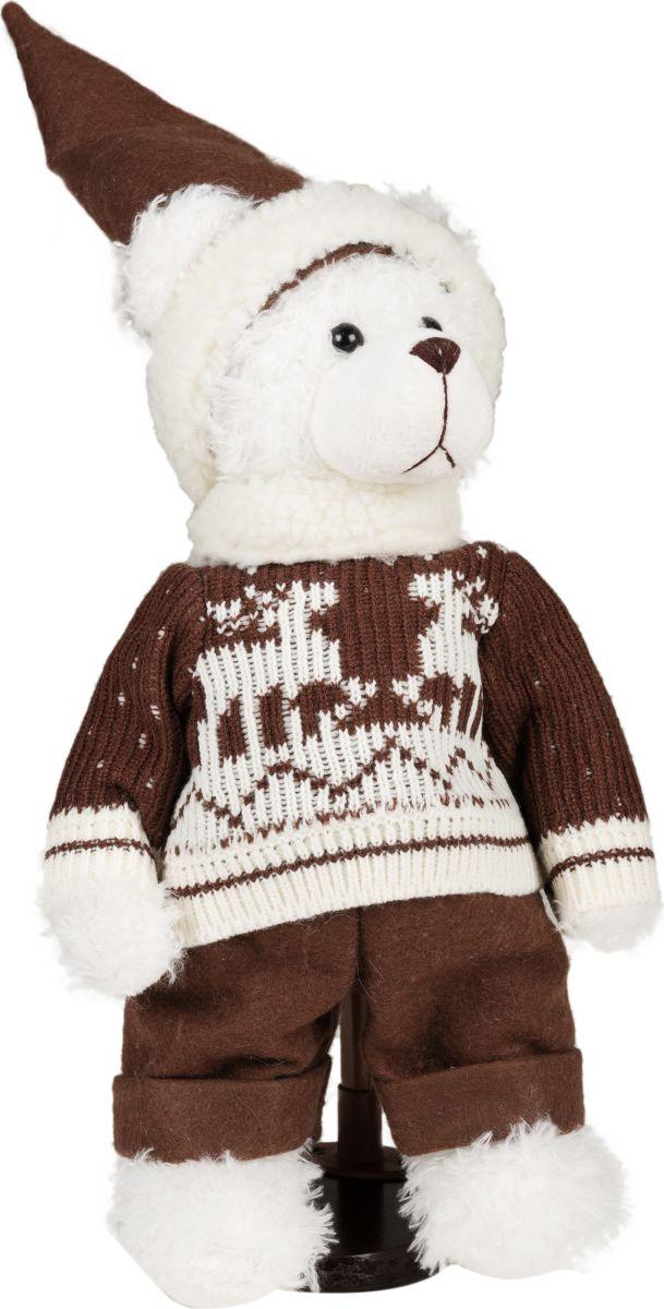Фигурка праздничная Estro Мишка белый в свитереC21-141274Интерьерная игрушка ESTRO ручной работы