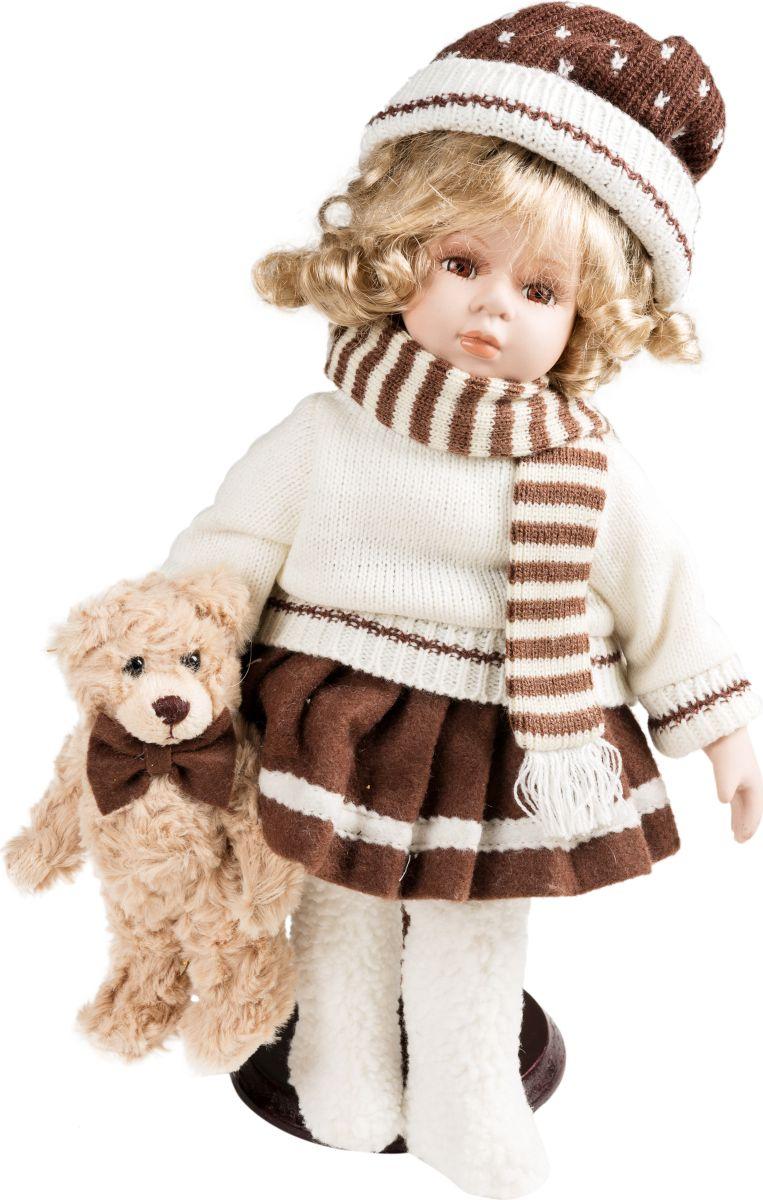 Фигурка праздничная Estro Кукла в свитере с мишкойC21-141278Интерьерная игрушка ESTRO ручной работы