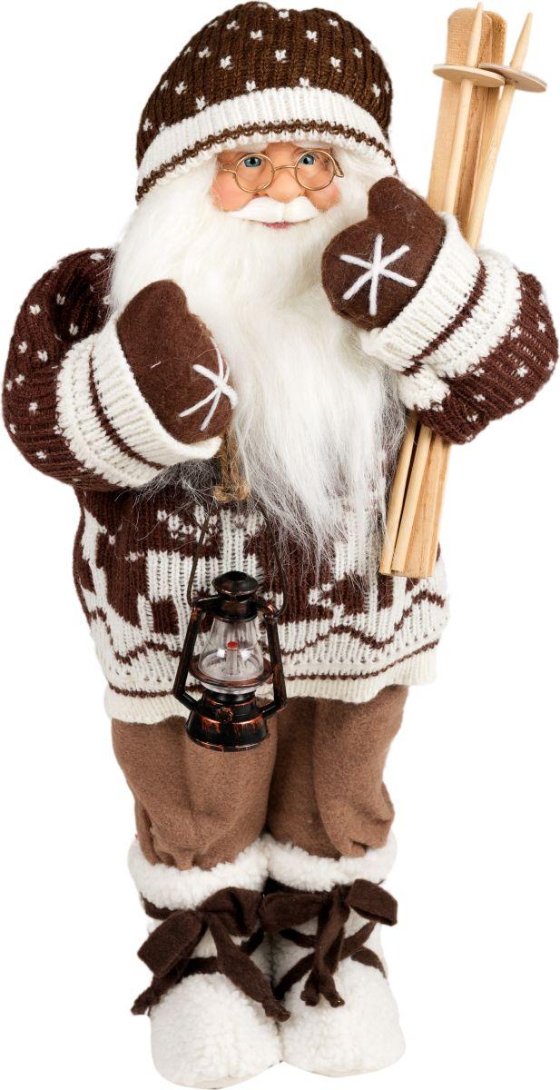 Фигурка праздничная Estro Дед Мороз в свитере с лыжамиC21-181465Интерьерная игрушка ESTRO ручной работы