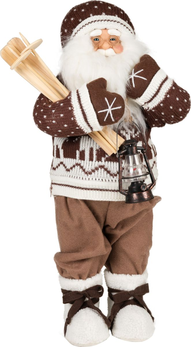 Фигурка праздничная Estro Дед Мороз с лыжами и фонарикомC21-241263Интерьерная игрушка ESTRO ручной работы