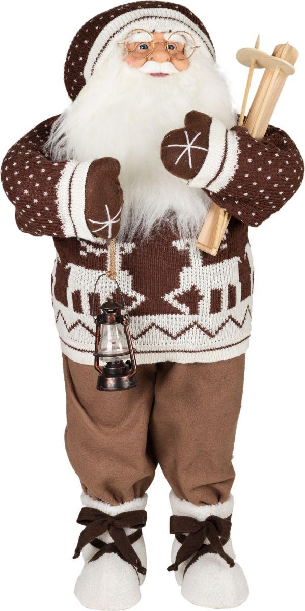 Фигурка праздничная Estro Дед Мороз в свитере с фонариком и лыжамиC21-321158Интерьерная игрушка ESTRO ручной работы