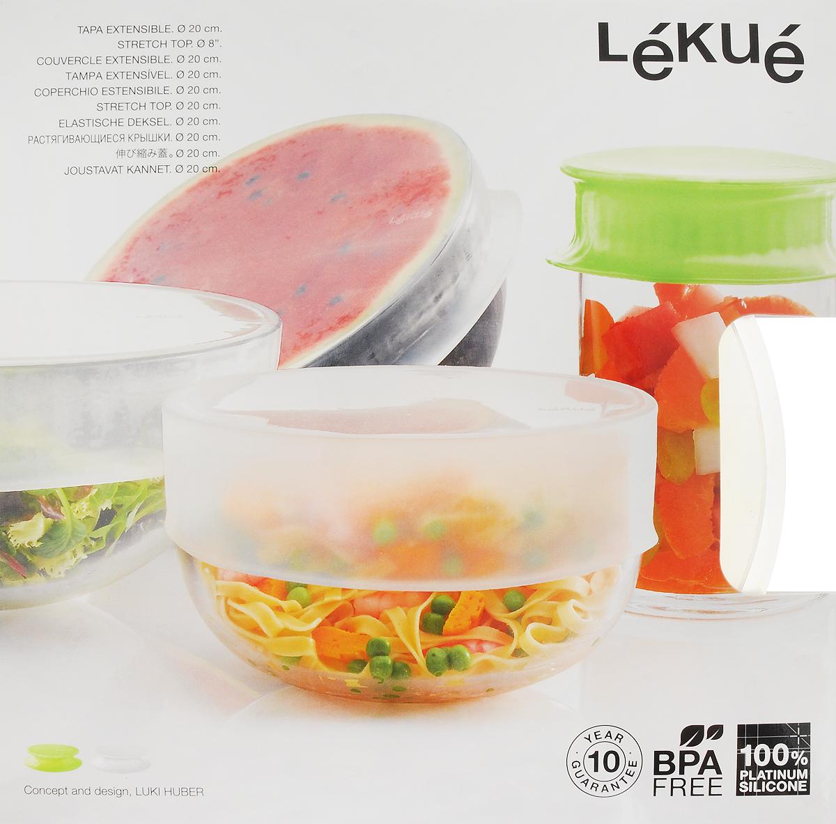 Крышка Lekue, универсальная, цвет: прозрачный. Диаметр 20 см3401420B04U017Универсальная растягивающаяся крышка позволяет хранить продукты в вакууме, в холодильнике, простым и гигиеничным способом. Крышка специально разработана для хранения продуктов питания в металлической или стеклянной посуде, в том числе для хранения половинок овощей или фруктов. Вакуум достигается с помощью простого давления на верхнюю часть крышки. Благодаря своей эластичности крышка свободно приспосабливается к посуде любого типа и разного диаметра.Рекомендации: мойте изделие, вывернув на изнанку. Не использовать для мытья металлической мочалки и грубые абразивные средства.