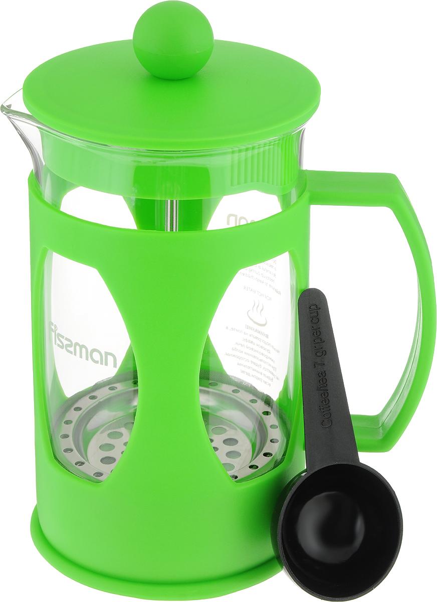 Заварочный чайник Fissman Mokka, с поршнем, цвет: зеленый, 600 млFP-9004.600_зеленыйЗаварочный чайник Fissman Mokka изготовлен из жаропрочного стекла и пластика. Фильтр-поршень из нержавеющей стали оснащенситечком для обеспечения равномерной циркуляции воды. Засыпая чайную заварку или кофе под фильтр, заливая горячей водой, вы получаете ароматный напиток с оптимальной крепостью и насыщенностью. Остановить процесс заваривания легко, для этого нужно просто опустить поршень, и все уйдет вниз, оставляя вверху напиток, готовый к употреблению. Изделие оснащено эргономичной ручкой, которая обеспечит безопасный и удобный хват.Такой чайник позволит быстро и просто приготовить свежий и ароматный кофе или чай.Объем: 600 мл.