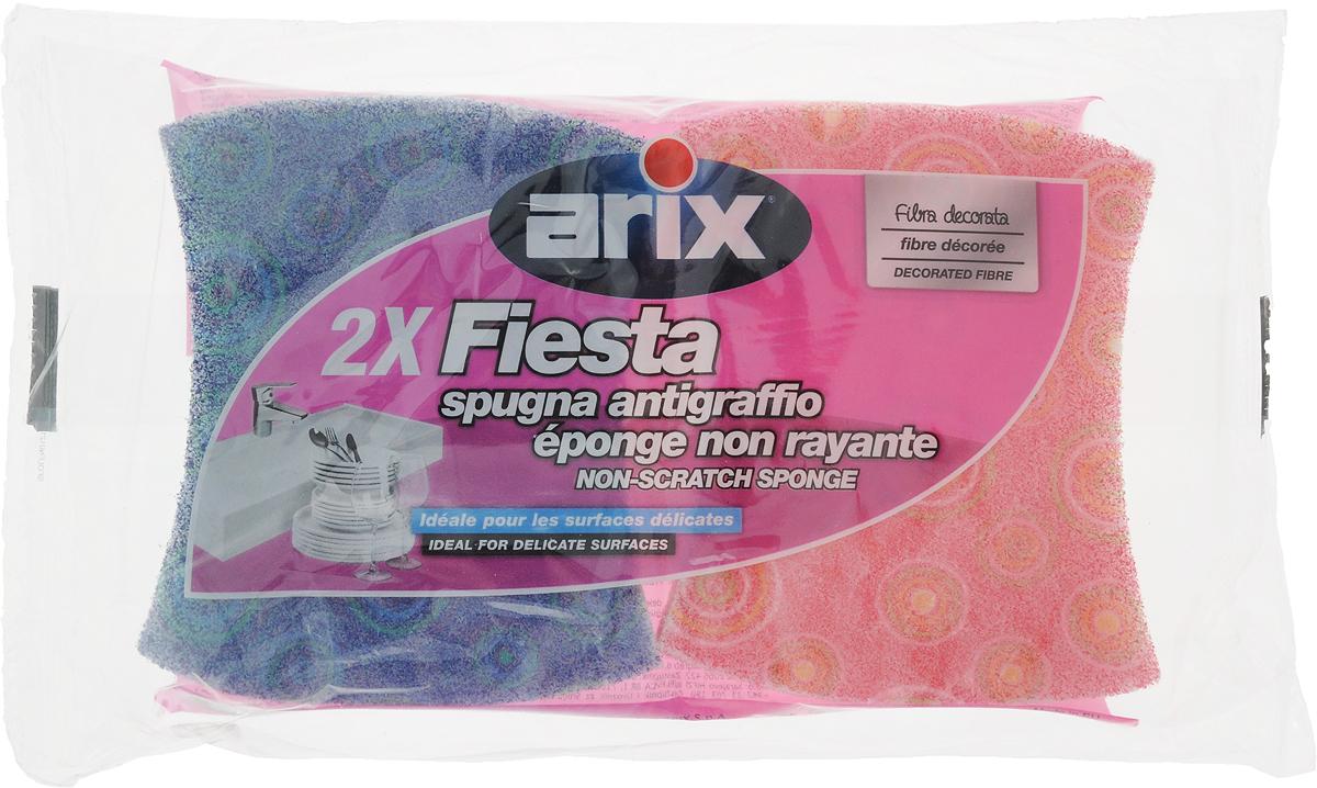 Губка для посуды Arix Фиеста, цвет: розовый, бирюзовый, 2 штAP10080004_розовый, бирюзовыйГубки для посуды Arix Фиеста идеально подходят для глубокой и безопасной очистки посуды с антипригарным покрытием, фарфора, стекла, раковин, удаления известкового налета с сантехники и кафеля. Изделия изготовлены из поролона и декорированной деликатной фибры - полиэстера, имеют анатомическую форму, что облегчает процесс мытья. С такими губками ваша посуда будет всегда чистой. Комплектация: 2 шт.