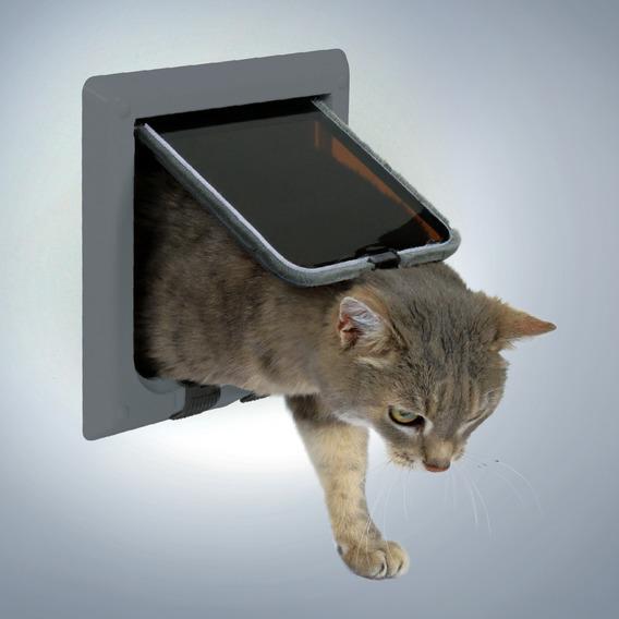 Дверца для кошки Trixie, с 4 функциями, цвет: серый, 16,5 х 17,4 см