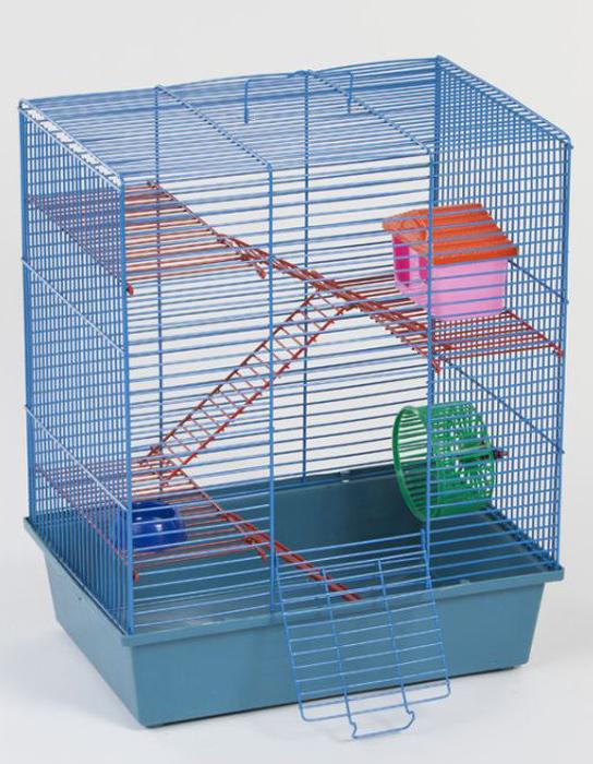 Клетка для грызунов Велес Lusy Hamster-4к, 4-этажная, цвет: синий, красный, 35 х 26 х 45 см клетка для грызунов ferplast hamster duo белая 46x29x37 5см