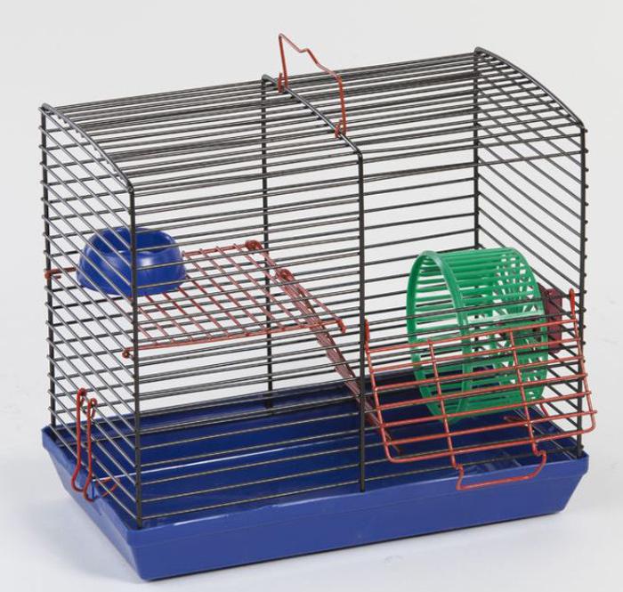 Клетка для джунгариков  Велес , двухэтажная, с колесом и миской, цвет: синий поддон, черная решетка, 26 х 14 х 23 см